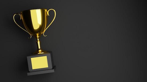 Rendu 3d. trophée d'or sur fond noir