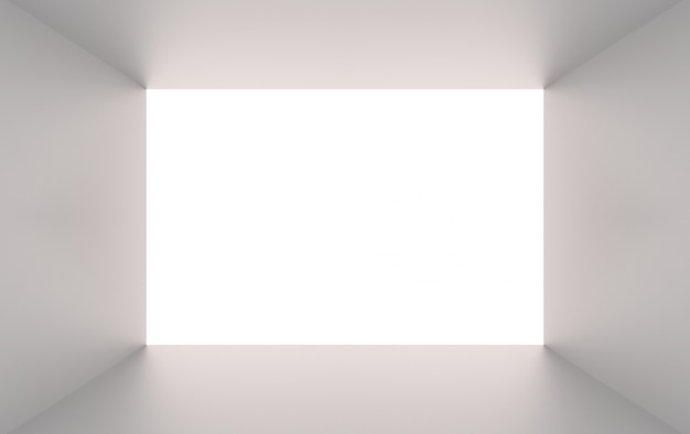 Rendu 3d. trou de tunnel simple boîte de cube gris sur fond blanc.