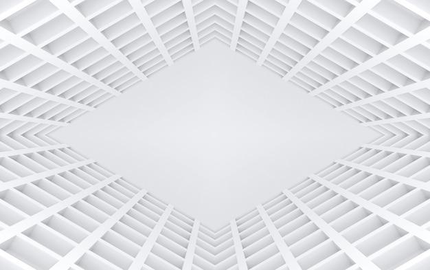 Rendu 3d. tunnel de grille carrée moderne illusion mur design fond.