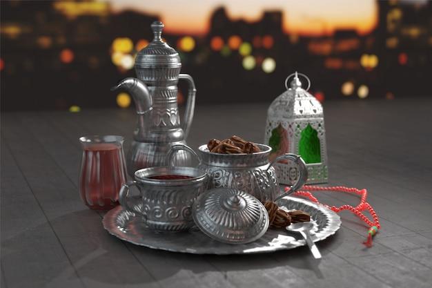 Rendu 3d d'ustensiles en argent avec tasbih (chapelet) et lanterne arabe