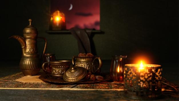 Rendu 3d des ustensiles et lanterne éclairée en vue de nuit