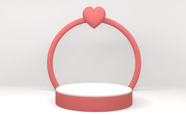 Rendu 3d valentine le podium rose affiche un design minimal sur fond blanc