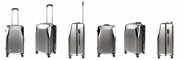 Le rendu 3d valise rigide en métal isolé sur blanc