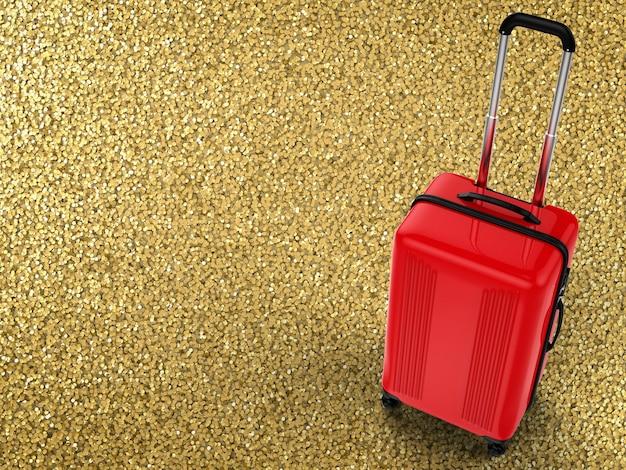Rendu 3d valise rigide rouge sur fond de paillettes d'or