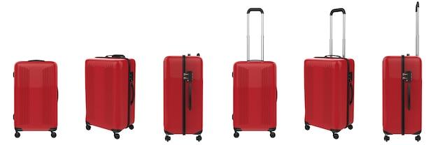 Le rendu 3d valise rigide rouge isolé sur blanc