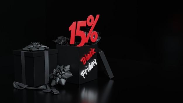 Rendu 3d. vente de réduction publicitaire de flyers advert pour la promotion du vendredi noir. fond noir.