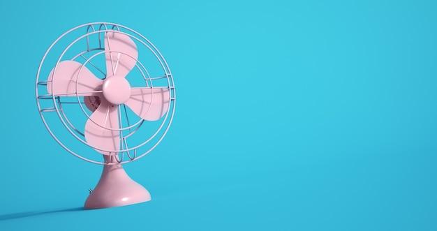 Le rendu 3d d'un ventilateur électrique rose sur fond bleu