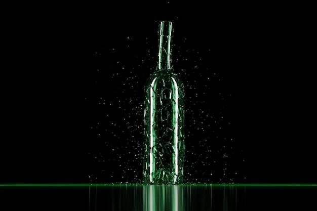 Rendu 3d verre cassé bouteille de bière verte réaliste mock up, illustration 3d graphic design.