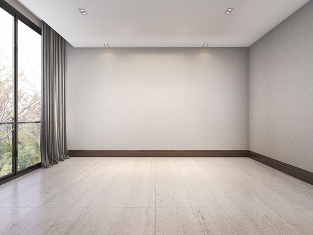 Rendu 3d vide chambre blanche minimale avec beau fond d'écran près de la fenêtre