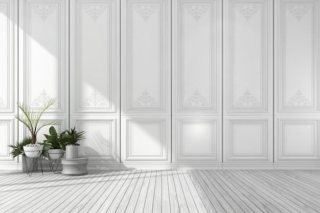 Rendu 3d vide chambre classique blanche