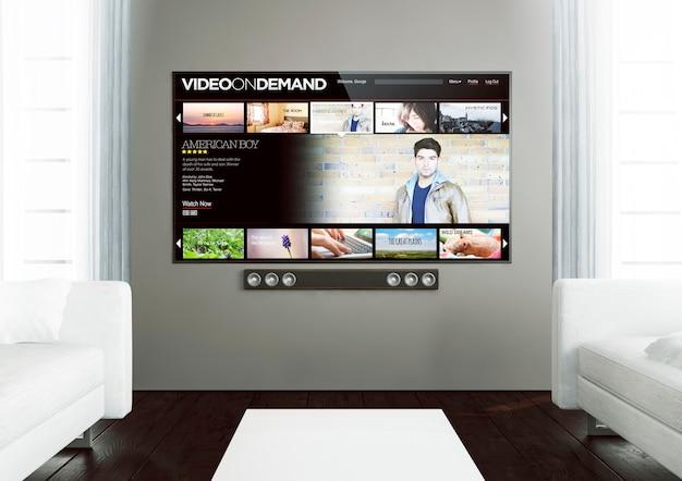 Rendu 3d de la vidéo smart tv à la demande sur un salon en bois