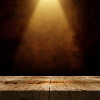 Rendu 3d d'une vieille table en bois sur un fond de mur grunge avec projecteur