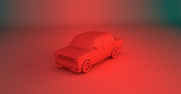 Rendu 3d d'une vieille voiture sur une surface colorée