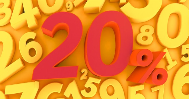 Rendu 3d d'un vingt pour cent rouge sur fond jaune avec des chiffres. vente d'offres spéciales. la réduction avec le prix est de 20%.