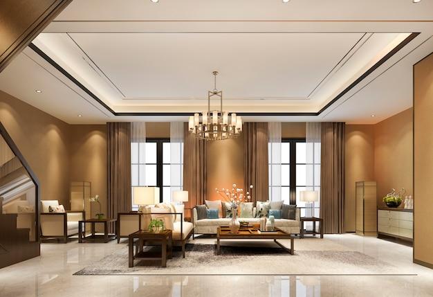 Rendu 3d vintage luxe classique ton chaud bois salon près de l'escalier et décor de lustre avec haut plafond