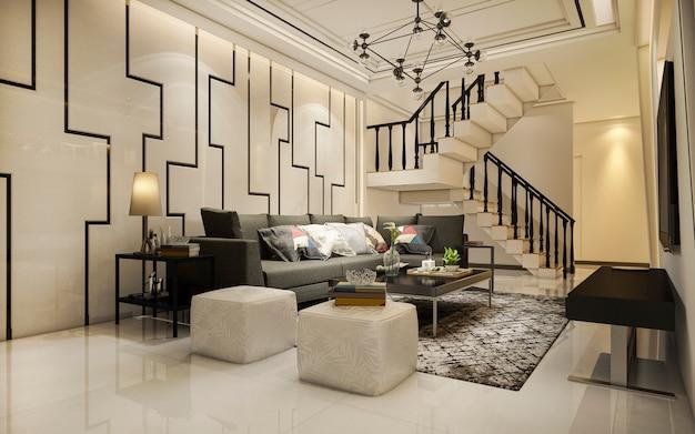 Rendu 3d vintage salon bois ton chaud près de l'escalier