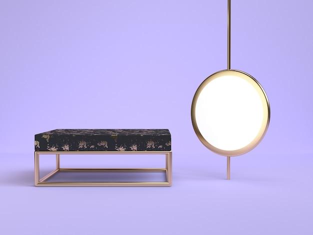 Rendu 3d violet-violet scène noir podium forme géométrique