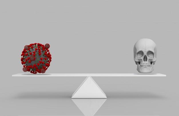 Rendu 3d. un virus covid-19 rouge ou corona avec un crâne humain égal sur une balance à triangle blanc. le virus est un concept de mort.