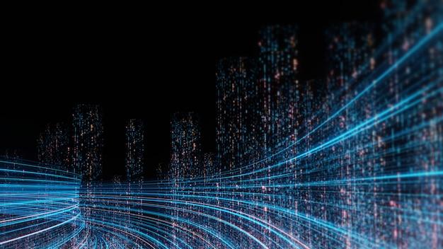 Rendu 3d de la vitesse de chaîne en hyper boucle avec lumière floue provenant des lumières de bâtiments dans la mégapole la nuit.