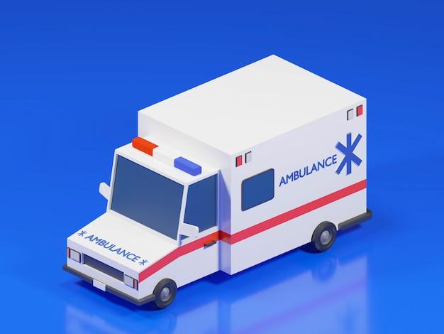 Rendu 3d de la voiture d'ambulance isométrique