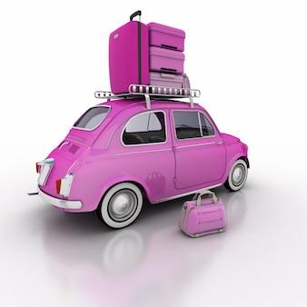 Le Rendu 3d D'une Voiture Compacte Rose Avec Une Pile De Bagages Sur Le Dessus Photo Premium
