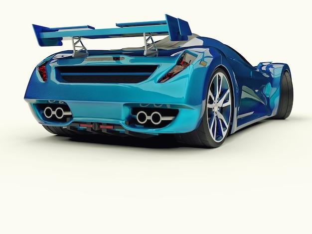 Rendu 3d de voiture concept de course bleue