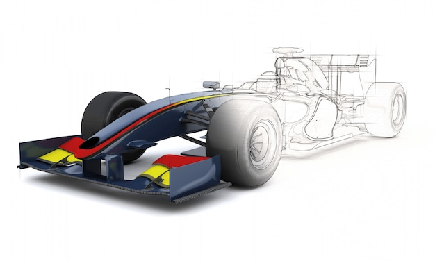 Rendu 3d d'une voiture de course générique avec la moitié dans l'aperçu de l'esquisse