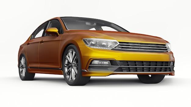 Rendu 3d d'une voiture orange générique sans marque dans un environnement de studio blanc