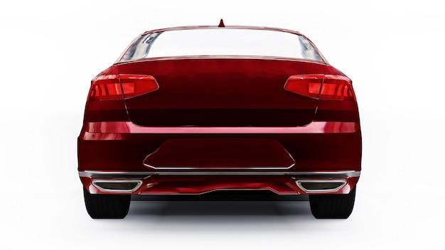 Rendu 3d d'une voiture rouge générique sans marque dans un environnement de studio blanc.