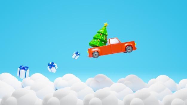 Rendu 3d Voiture Rouge Voler Sur Le Thème Du Ciel Joyeux Noël Photo Premium