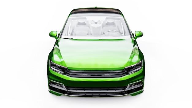 Le rendu 3d d'une voiture verte générique sans marque dans un environnement de studio blanc