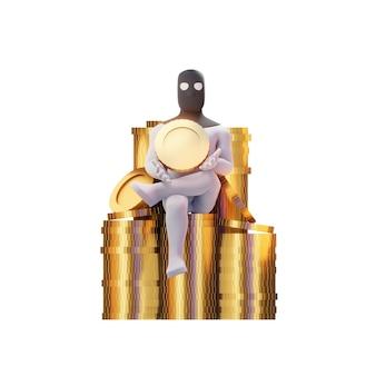 Rendu 3d de voleur avec des pièces d'or.