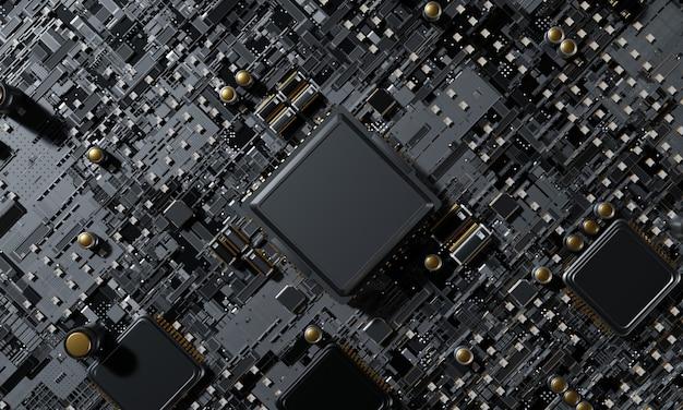 Rendu 3d, vue de dessus concept de processeur de processeurs d'ordinateur central contexte technologique unité centrale de processeur de chipset de microprocesseur concept cyber et futuriste, matériel, ia, électronique