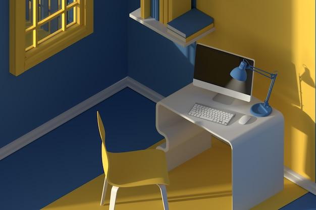 Rendu 3d. vue isométrique de l'intérieur dans un style de dessin animé moderne minimaliste. chambre au soleil du soir. avec chaise, table, ordinateur, fenêtre
