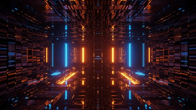 Rendu abstrait futuriste avec des néons lumineux bleus et orange
