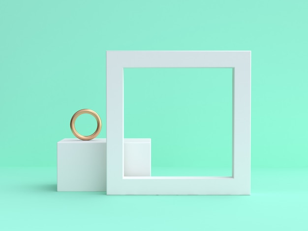 Rendu blanc minimal blanc cadre vert 3d