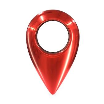 Rendu de la broche géo carte métallique rouge isolé