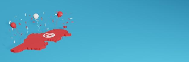 Rendu de carte 3d en combinaison avec le drapeau du pays pour les médias sociaux et l'arrière-plan du site web ajouté couvre des ballons rouges et blancs pour célébrer la fête de l'indépendance et la journée nationale du shopping