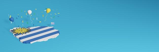 Rendu de carte 3d en combinaison avec le drapeau de l'uruguay pour les médias sociaux et la couverture d'arrière-plan du site web ajoutée ballons blancs jaunes bleus pour célébrer la fête de l'indépendance et la journée nationale du shopping