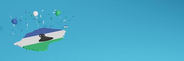 Rendu de carte 3d combiné avec le drapeau du pays du lesotho pour les médias sociaux et l'ajout de la couverture d'arrière-plan du site web ballons bleus blancs verts pour célébrer la fête de l'indépendance et la journée nationale du shopping