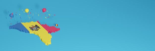 Rendu de carte 3d combiné avec le drapeau du pays de la moldavie pour les médias sociaux et ajout de la couverture d'arrière-plan du site web ballons rouges bleus jaunes pour célébrer la fête de l'indépendance et la journée nationale du shopping