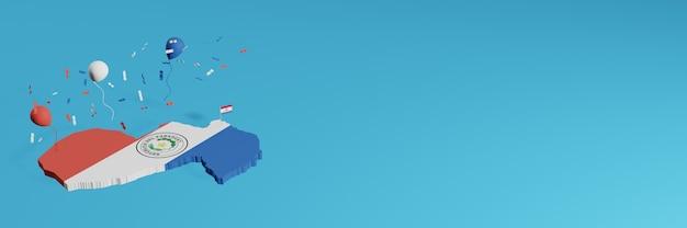 Rendu de carte 3d combiné avec le drapeau de l'état du paraguay pour les médias sociaux et ajout de la couverture d'arrière-plan du site web ballons bleus rouges blancs pour célébrer la fête de l'indépendance et la journée nationale du shopping