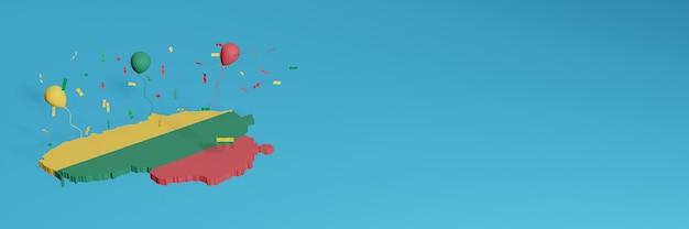 Rendu de carte 3d en conjonction avec le drapeau de la lituanie pour les médias sociaux et ajout de la couverture d'arrière-plan du site web ballons rouges bleus jaunes pour célébrer la fête de l'indépendance et la journée nationale du shopping