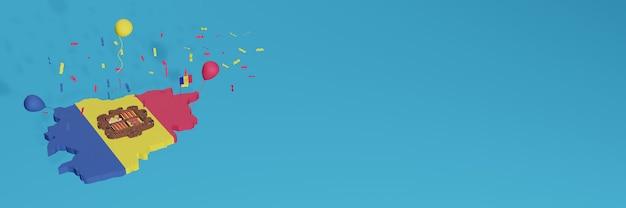 Rendu de carte 3d du drapeau d'andora pour les médias sociaux et le site web de couverture