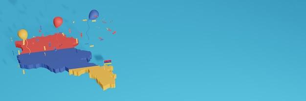 Rendu de la carte 3d du drapeau arménien pour les médias sociaux et le site web de couverture