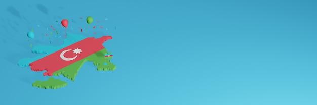 Rendu de carte 3d du drapeau de l'azerbaïdjan pour les médias sociaux et le site web de couverture