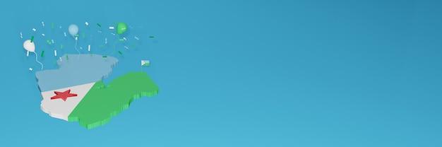 Rendu de carte 3d du drapeau de djibouti pour les médias sociaux et le site web de couverture