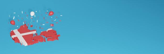 Rendu de carte 3d du drapeau du danemark pour les médias sociaux et le site web de couverture