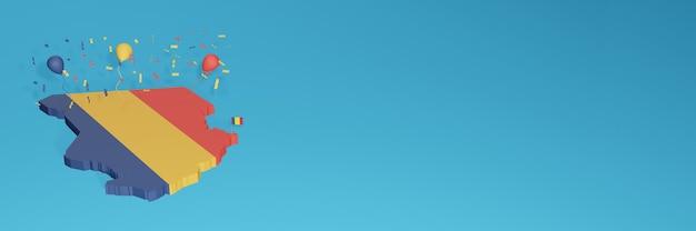Rendu de carte 3d du drapeau du tchad pour les médias sociaux et le site web de couverture
