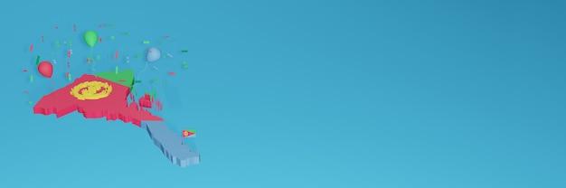 Rendu de carte 3d du drapeau erytrea pour les médias sociaux et le site web de couverture
